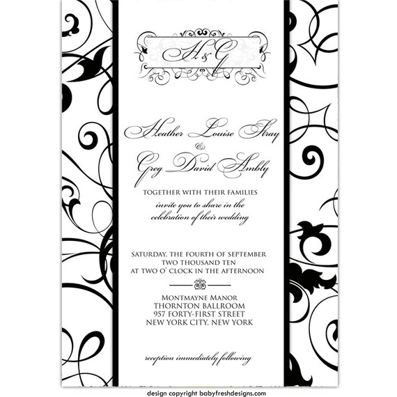 Hochzeit - Wedding or Bridal Shower Invitation  //customize with your colors// - Formal swirls design