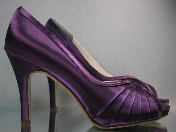 SALE Wedding Shoes Plum Peep Toe