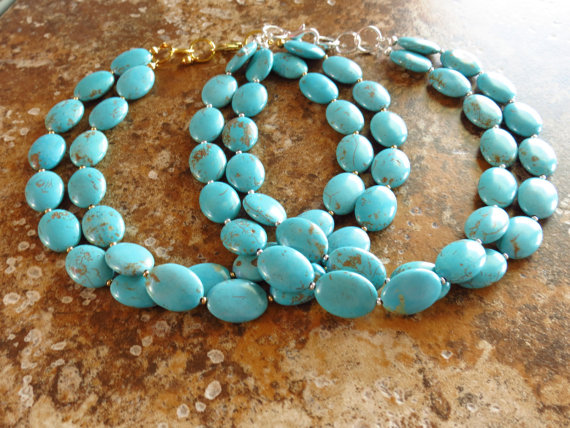 Hochzeit - Turquoise Bridesmaid Jewelry Turquoise Necklace - 2 Strand Turquoise Oval Statement Necklace & Earring Set  Turquoise Bridesmaid Gift
