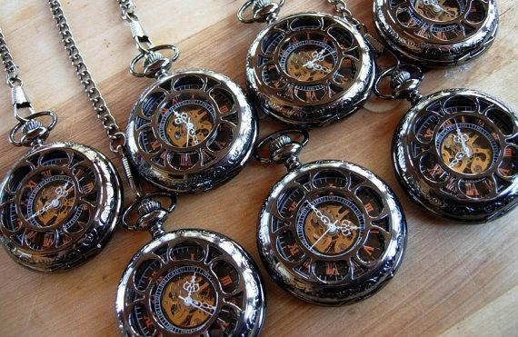 Unique Wedding Gifts Canada : Gift Pocket Watch Gunmetal Black Mechanical with Chain Personalized ...