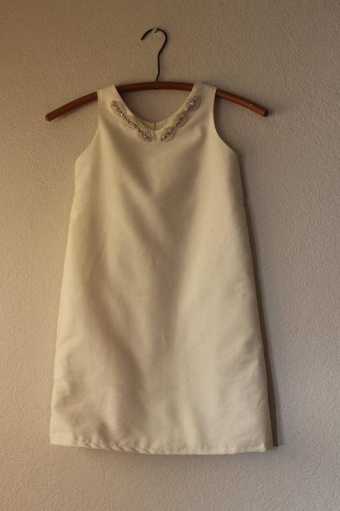 Nozze - modern Flower girl dress sateen cotton shift dress