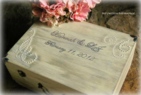 Hochzeit - Wedding Card Box SHABBY CHIC RUSTIC Love Letter Wine Ceremony Box Keepsake