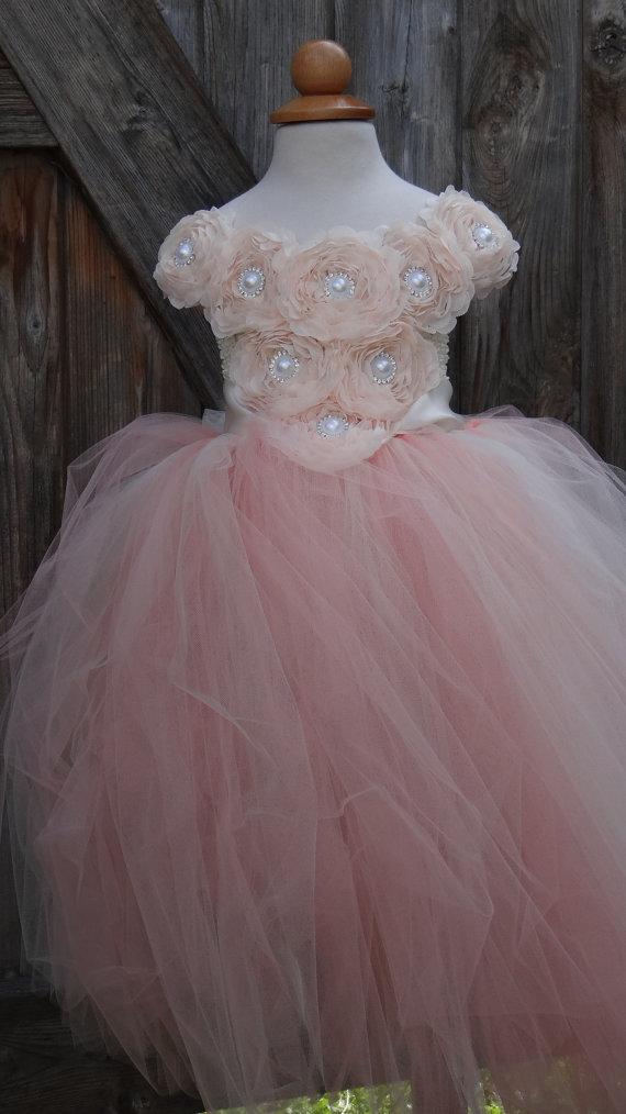 زفاف - Blush Pink  Flower Girl Dress.... Flower Girl Tutu Dress.... Tulle Dress