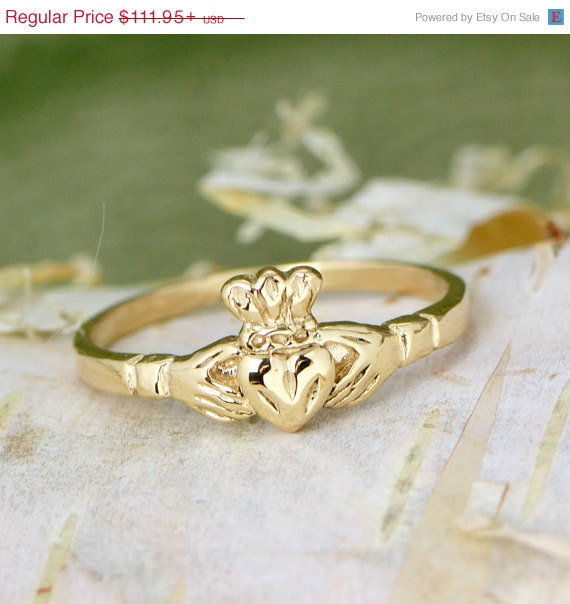 Mariage - Wedding Sale 10K Yellow Gold Claddagh Ring - Gold Ring - Irish Ring - Claddagh Jewelry - Gold Promise Ring - Golden Ring