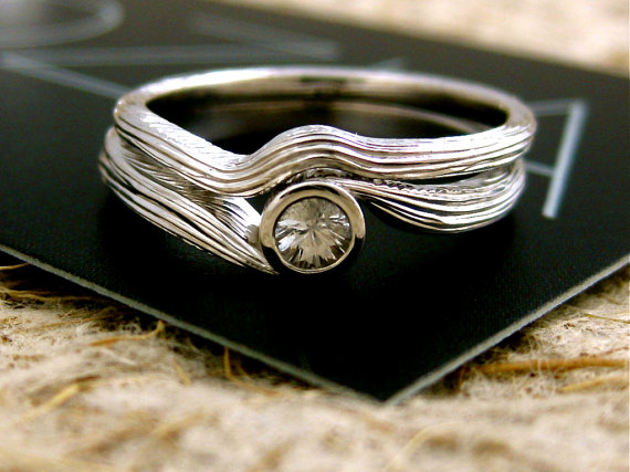 Wedding - White Sapphire Engagement Ring and Matching Wedding Band in 14k White Gold Matching with Bark Grooves Size 6