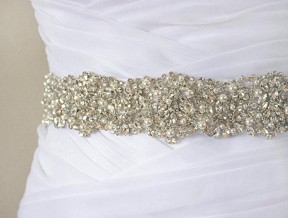 Mariage - JANELLE - Swarovski Pearls And Rhinestones Encrusted Bridal Sash, Wedding Beaded Belt, Crystal Belt