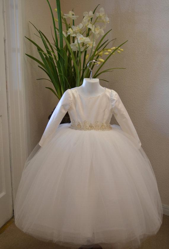 Wedding - Flower Girl Dress, First Communion Dress, Easter Dress, Long Sleeve Dresses, Birthday Dresses, Girls Couture Dress - Long Sleeve