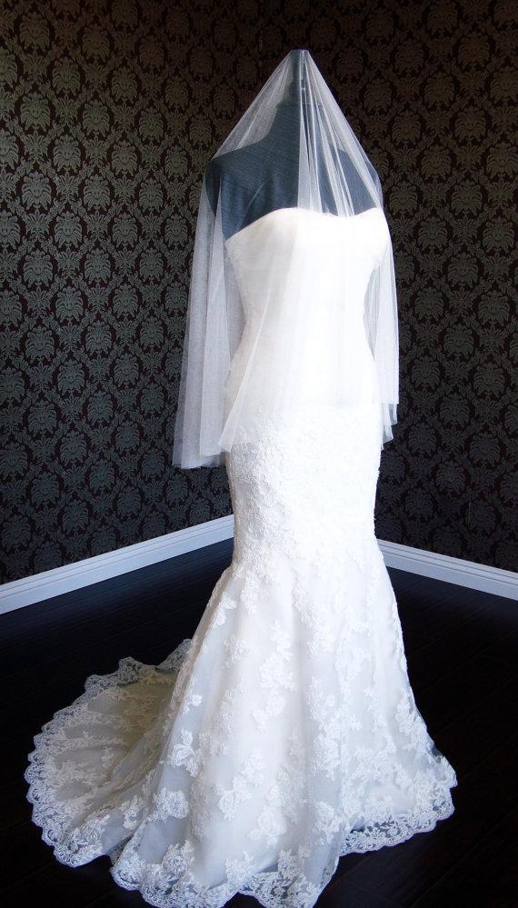 "Свадьба - Pure Silk Luxury Soft Silk Drop Veil 72"" Wide Cut Edge Silk Tulle Bridal Veil by IHeartBride Silk Tulle Collection V-AS72 White Ivory"