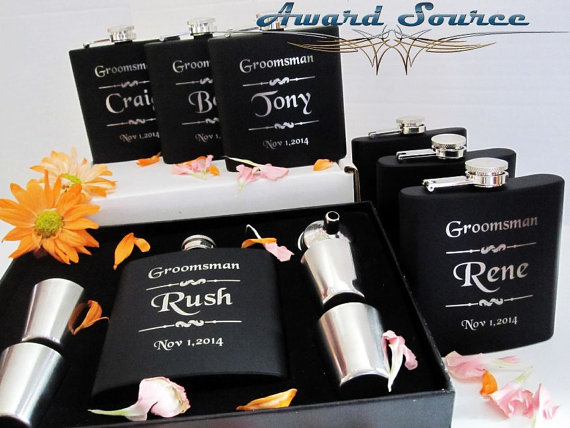 Свадьба - Set of 8, Groomsmen Gift, Flask Gift Set - Flask and Shot Glass Set with Funnel - Gift for Groomsmen, Best Man Gift