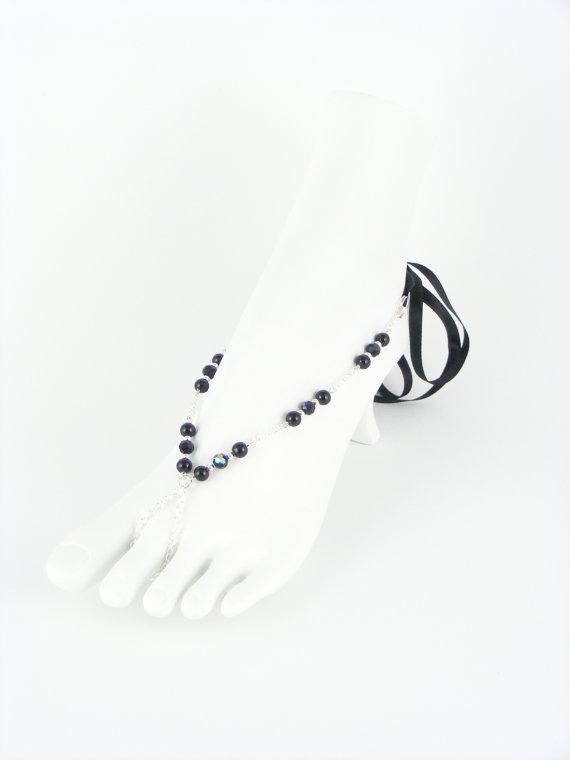 Wedding - Foot jewelry, bridal barefoot sandal, beaded feet jewelry, soleless sandals, beach wedding shoe, sandals, bridal anklet. AMANDA Black
