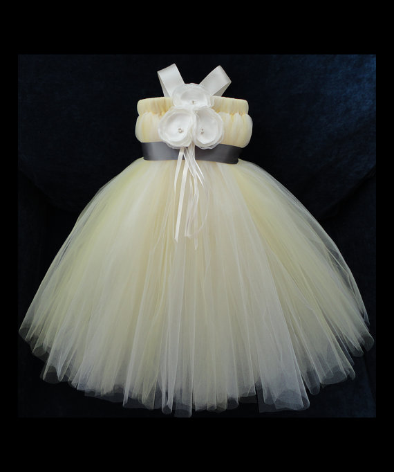 Wedding - Flower Girl Dress, Little Girls Formal Dresses, Yellow Ivory and Grey Flower Girl Dress, Charcoal Grey