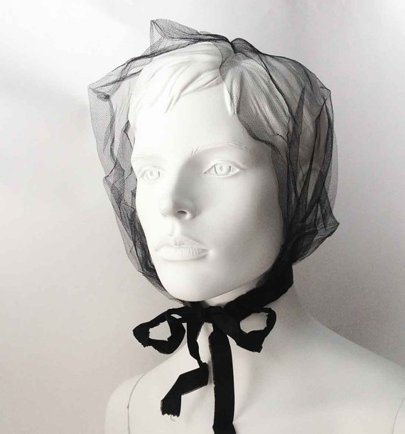 Wedding - The Tess Tulle Black Victorian Hair Net or Gothic Wedding Veil: Vintage, Antique Bridal Accessories