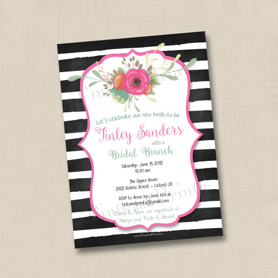 Little flourish and bold stripes custom bridal or baby shower little flourish and bold stripes custom bridal or baby shower invitation design or any occasion filmwisefo