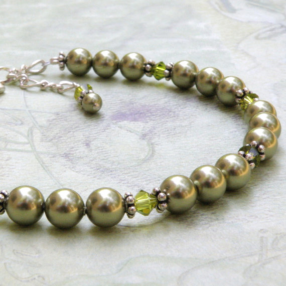 Mariage - Petite Green Pearl Bracelet, Swarovski Light Olive, Meadow Green, Sterling Silver, Bridal Party Custom Wedding Jewelry, Flower Girl, Teen