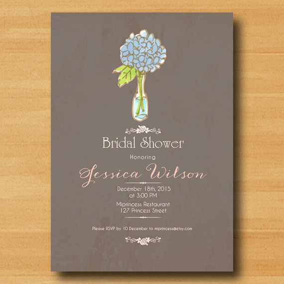 Bridal Shower Invitation Wedding Shower Invitation Hydrangea
