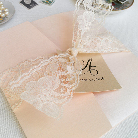 blush wedding invitations / lace wedding invite / vintage wedding, Wedding invitations