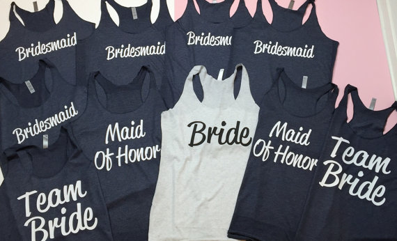 10 Bridesmaid Tank Top Shirt Bride Maid Of Honor Flowy Racerback Gift Bachelorette Party