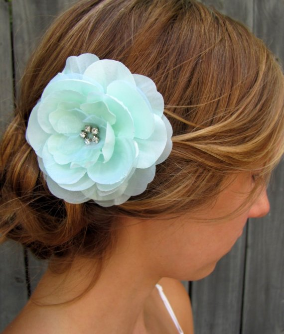 Hochzeit - Bridal Hair Comb Wedding Hair Accessories Silver Hair Comb Rose Hair Comb Pale Mint Green - IVORY & WHITE Also Available, CHOOSE Your Color
