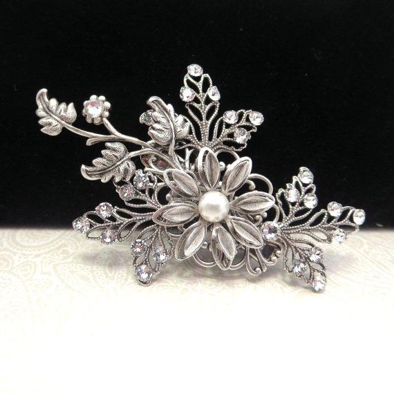 Wedding - Bridal hair clip, wedding hair clip, bridal fascinator, bridal hair pin, antique silver with Swarovski crystals and Swarovski pearls