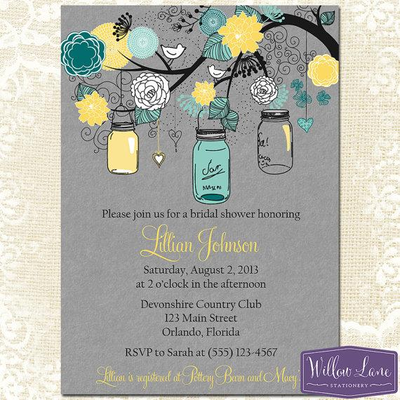 mason jar bridal shower invitation mason jar bridal shower invite gray yellow turquoise mason jar wedding shower invite 1312 printable