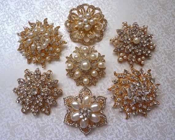 70e73ee1b Ex-large GOLD / Rose Gold Finish Crystal Pearl Rhinestone Brooches Wedding  Brooch Bouquet Wedding Invitations Dress Sash