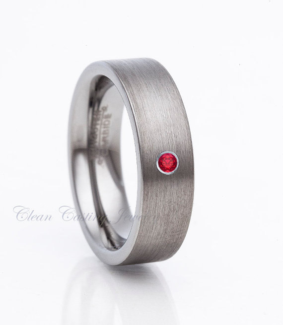 Wedding - Tungsten Wedding Band,Tungsten Wedding Ring,Red Ruby,Brushed Polish,6mm,Anniversary Ring,Engagement Band,His,Hers