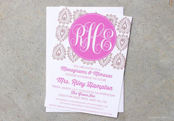 invitations monograms and mimosas invites monogram shower bridal wedding shower shower invitations damask invites monogram invites