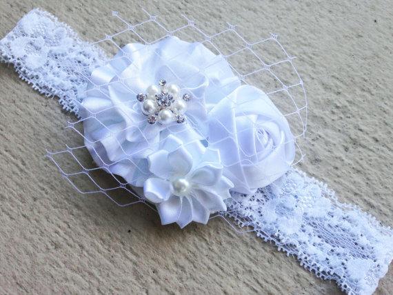 Hochzeit - White Baby Headband, Baby Baptism Headband, Baby Wedding Headband, Elegant White Lace Baby Headband, Baby Flower Girl, Christening Headband