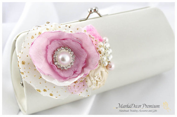 2ddcafdbd2 Bridal Wedding Clutch Flower Handmade Brooch Bridesmaids Purse with Handmade  Flowers
