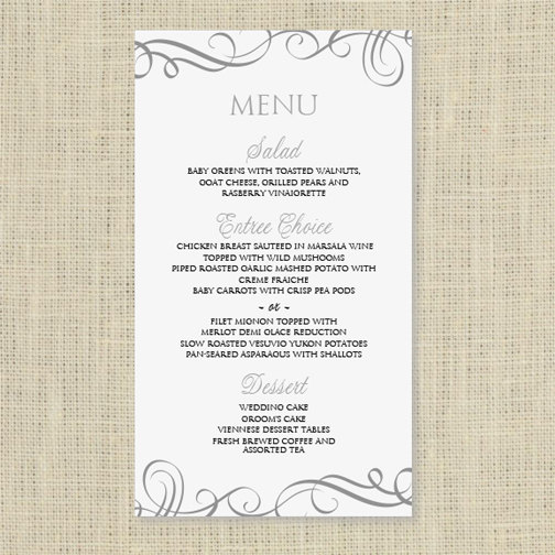 Amazing Wedding Menu Card Template   DOWNLOAD INSTANTLY   Edit Yourself   Elegant  Swirls (Pewter) 4 X 7   Microsoft Word Format Inside Free Word Menu Template
