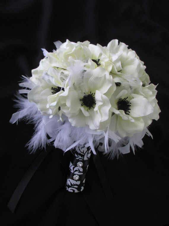 Silk flower bridal bouquet and boutonniere white silk anemones with silk flower bridal bouquet and boutonniere white silk anemones with inky black centers mightylinksfo