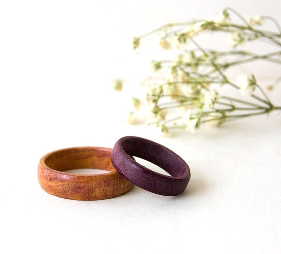 Mariage - Wedding Wood Rings, His and Her Rings, Engagement Rings, Wedding Wood Bands, Weeding Rings Set, Wood Jewellry, Minimalist Ring, Wedding gift