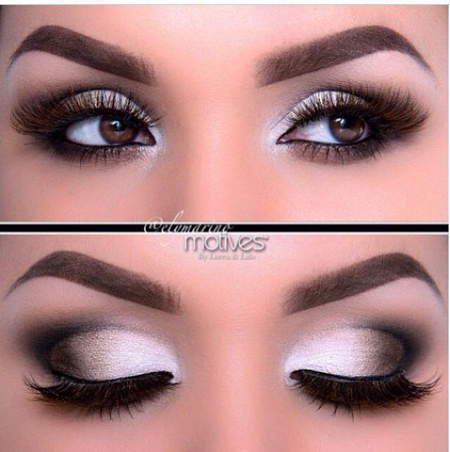 Макияж для карих глаз с белыми и черными тенями