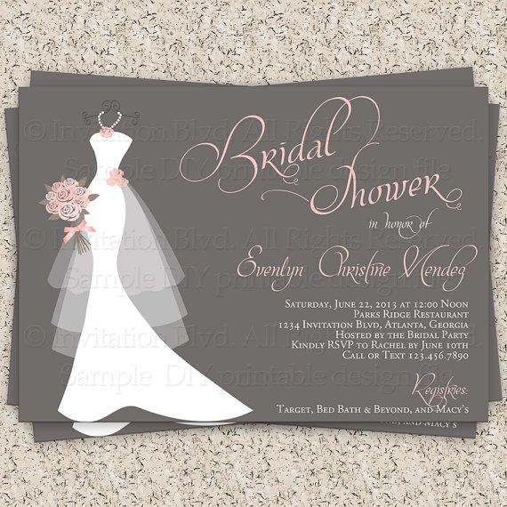 Wedding - Bridal Shower Invitation, Wedding Shower Invitations - Dress On Hanger - Printable Bridal Shower Invitation