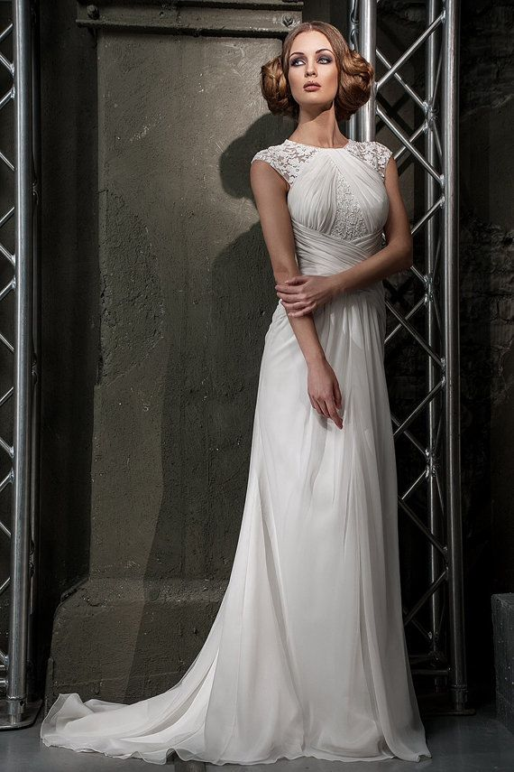 Stunning Slim Silhouette Wedding Dress With Lace Details. Beach ...