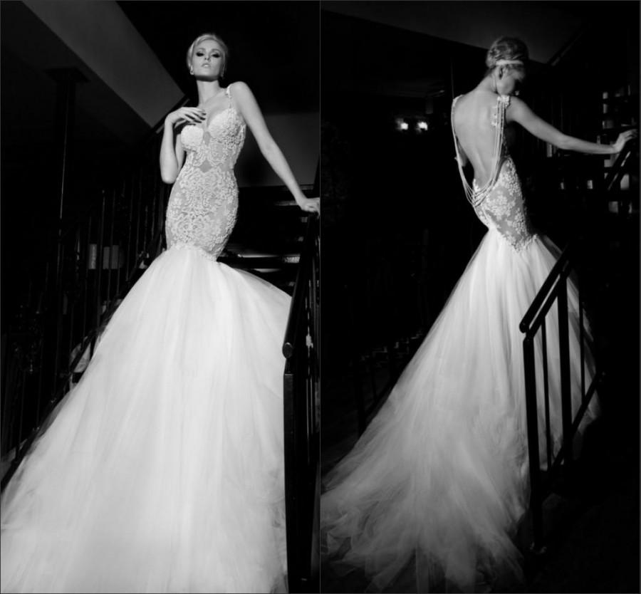 Wedding - Sexy Vestido De Noiva Wedding Dresses Mermaid Lace Galia Lahav Beading Tulle Applique Bridal Gown Court Train Sleeveless Backless Custom, $134.65