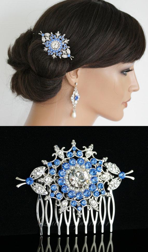 زفاف - Something Blue Wedding Hair Accessories Bridal Hair comb Swarovski Sapphire Bridal Comb Vintage Wedding Hair Comb KIRRIE