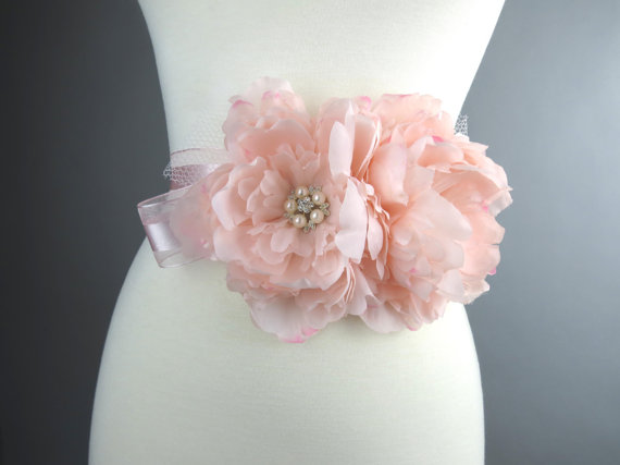 Hochzeit - Pink Bridal Peonies Sash Headband Wedding Flower Sash Wedding Accessory Brooches