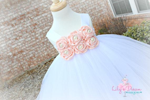 Mariage - 5% OFF blush peach tutu dress, light peach flower girl dress, blush peach flower girl dress