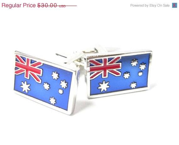... Australia Flag Cufflinks - Groomsmen Gift - Mens Jewelry - Gift Box