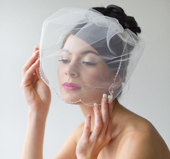 Wedding - Birdcage Veil, Wedding Veil, Illusion Birdcage Veil, Beaded Bridal Veil, Short Veil