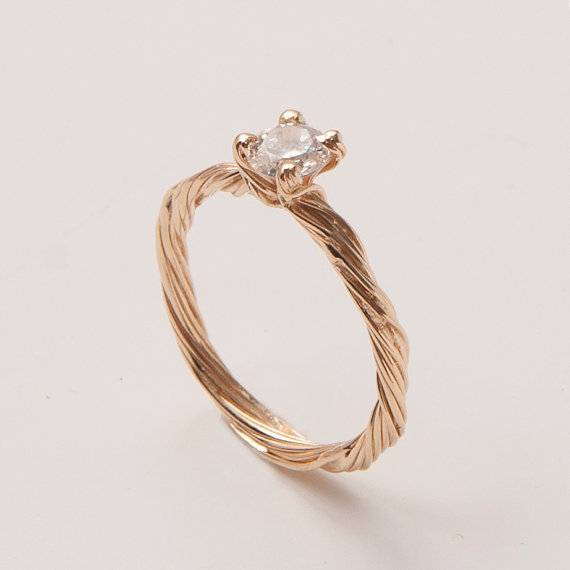 Свадьба - Twig Engagement Ring - 14K Gold and Diamond engagement ring, engagement ring, leaf ring, filigree, antique, art nouveau, vintage