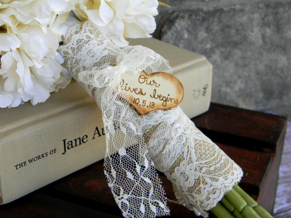 Mariage - Burlap Lace Bouquet Wrap Shabby Chic Rustic Country Woodland