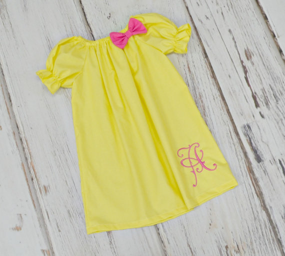 Mariage - Girls Monogrammed Dress - Girls Easter Dress - Flower Girl Dress - Yellow dress - Birthday dress - Spring dress - 1st Birthday dress