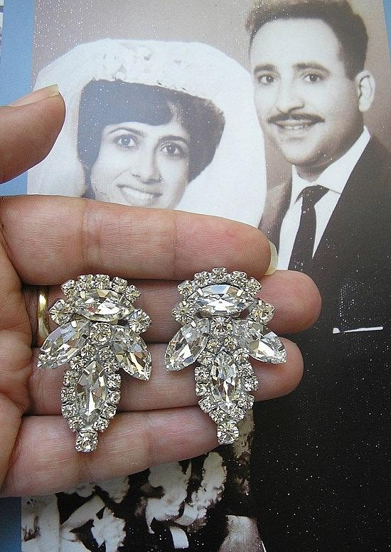 Свадьба - vintage  earrings, Crystal Rhinestone earrings, Sparkle earrings, Wedding jewelry Earrings, Bridal Clip On Earrings