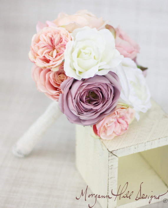 Свадьба - Silk Bridesmaid Bouquet Peony Peonies Roses Ranunculus Country Wedding Lace (Item Number 130110)