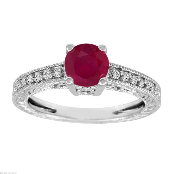 Mariage - 14k White Gold 1.14 Carat Ruby & Diamond Engagement Ring Vintage Style Certified HandMade