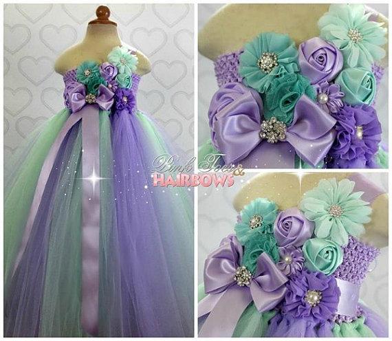 Mint And Lavender Flower Dress