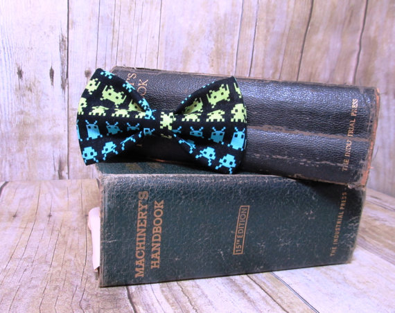 زفاف - Space Invaders Bow Tie, Clip, Headband or Pet