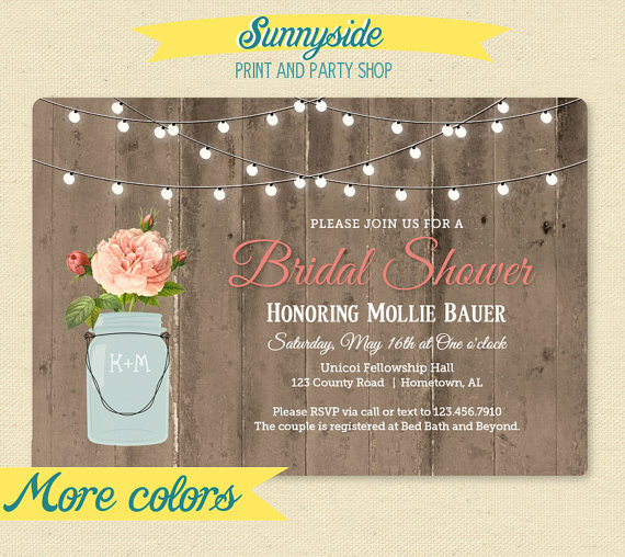 Wedding - Rustic Mason Jar Shower Invitation - Couple / Bridal / Wedding Shower Invitation - Barnwood & Lights Shower Invite